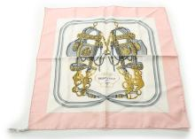 Hermes 'Brides de Gala' silk square, on pink ground, 42cm x 42cm