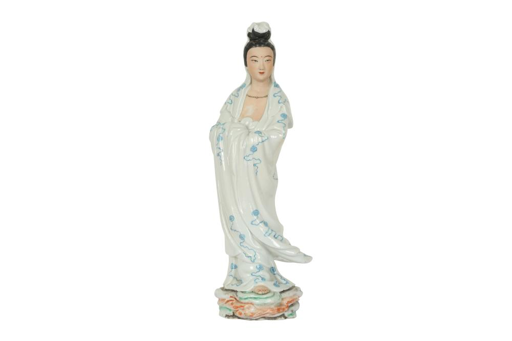A CHINESE PORCELAIN MODEL OF GUANYIN.