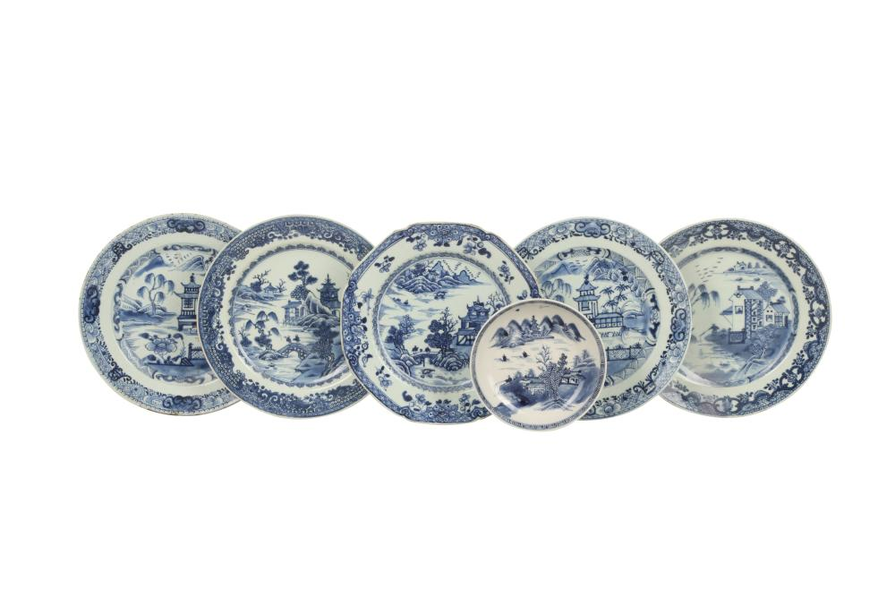 SIX CHINESE BLUE AND WHITE 'LANDSCAPE' DISHES.