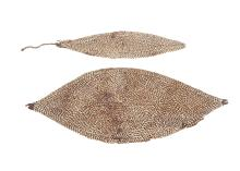 TWO HEAD AND BODY ORNAMENTS, PAPUA NEW GUINEA   Two leaf shaped fiber ornaments for attachments to garments decorated with shells, 60cm and 66.5cm long, (2)