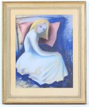 'BETH' STINA ELISABETH LAGERLUND, (SWEDISH, 1914-10975), untitled, mid 20th century pastel study of a seated female, signed and dated, '48, in pencil, (66 x 55cm inc. frame)