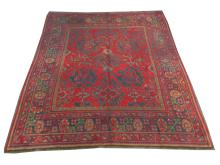 A Turkish carpet, 3.08m x 2.73m, condition rating B/C.