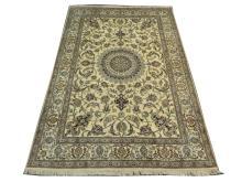 A Persian wool and silk nain carpet, Central Iran, 3.05m x 2.00m, condition rating A.