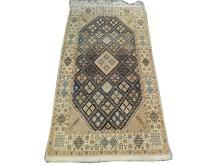 A fine Persian wool and silk nain rug, Central Iran, 2.36m x 1.29m, condition rating A/B.