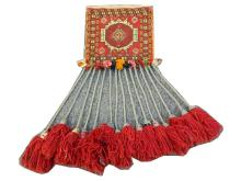 A fine Persian Qashqai bag, South West Iran, 0.27m x 0.27m (0.27m x 0.62m incl. tassels), condition rating A.