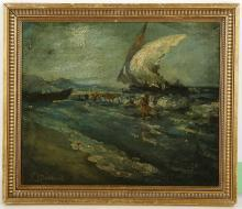 Attributed to Jean Paul Laurens 1838-1921, 'Waves to Shore', oil on panel marine study, signed lower left, framed, 24 x 29cm