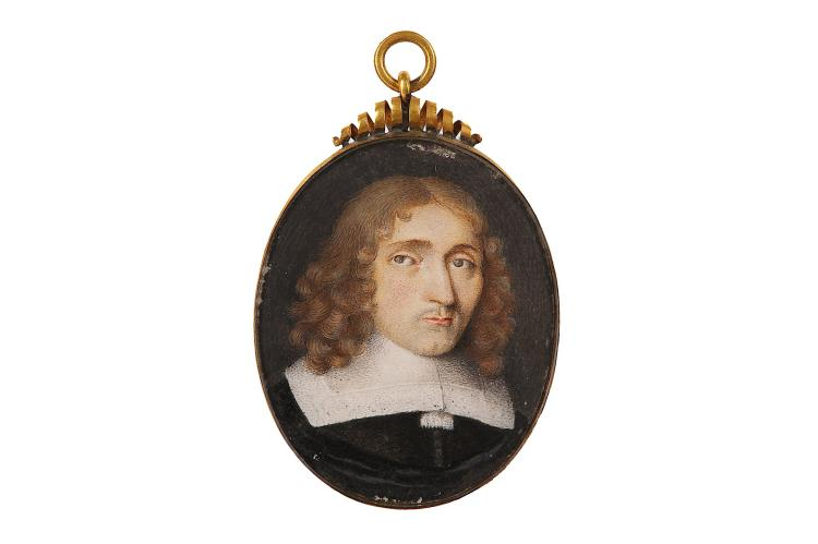 DUTCH SCHOOL (c.1650) Portrait miniature of a gentleman, wearing black doublet with wide lawn collar and tassel tie, his brown hair falling to his shoulders Watercolour on vellum Gilt metal frame with spiral cresting Oval, 54mm high