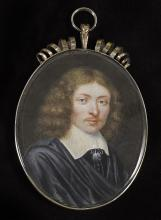 ENGLISH SCHOOL (c.1660)  Nathaniel Crew, 3rd Baron Crew of Stene and Lord Bishop of Durham (1633-1721)  wearing black doublet, white lawn collar with tassels, black cloak and natural hair  watercolour on vellum  Spiral crest frame  Oval, 57mm high  Provenance: Bonhams, 19th February 1997, lot 45  English Private Collection   Footnote:     Nathaniel Crew, 3rd Baron Crew was the son of John Crew, first Baron Crew and was a senior ecclesiastical figure within the Church of England during one of the most turbulent times in British history.   Following home education Crew entered Grays Inn in February 1652 and enrolled at Lincoln College, Oxford the following year where he graduated in 1656 with a B.A. In 1659 Crew was elected a fellow in Canon Law at Lincoln College and held the position of sub-rector periodically between 1659-1668.    Although 'devoting' himself to the Presbyterian branch of reformed-Protestantism during the interregnum, when the Restoration of England seemed imminent, Crew changed his ideals and embraced the more hierarchical approach of church government enforced by Charles II. Subsequently Crew was ordained as deacon and priest in 1665, one year later appointed the King's chaplain and the year after that secured, by preference of the King, the rectory of Gedney, Lincolnshire which he maintained until 1671.   Through the Catholic James, Duke of York (by this point a close friend), Crew obtained the see of Durham and was elected Bishop in August 1674, a profitable title no doubt attained through the various favours he did for James, including the highly controversial solemnisation of his marriage to the staunch Catholic Mary of Modena. When James became king Crew acted in a loyal manner, and his strict enforcement of the king's rules led people to speculate as to his true religion which Crew hastily attempted to prove otherwise.    When James II's abdication seemed likely Crew tried to make amends with past enemies through large gifts of money, returning to Durham as an administrator where his generous charitable giving earned him great popularity. Although experiencing a brief resurgence of power late in Queen Anne's reign, the damage caused to his peers through activities previously forged a barrier which he was never able to completely overcome, and Crew died in 1721, his wife, whom he married c.1700 dying a few years previously.   The present portrait miniature is painted by a talented but unidentifiable hand and is most probably dateable to the immediate years following the restoration c.1660-70, supported by the fact that Crew appears to be still quite youthful. Although there were numerous 'limners' working during this period, records are quite scarce making an attribution quite difficult. In 1889 an exhibition held at the Burlington Fine Arts Club included a portrait miniature of Crew by Samuel Cooper, and, although impossible to say without seeing it, it is possible that this is a derivation.