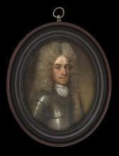 ENGLISH SCHOOL (c.1705)  A Gentleman, wearing silver-gilt armour and white cloth cravat, his wig powdered and worn with a knot over his shoulder  Oil on copper  Later turned wood frame  Oval, 95mm high   Footnote: Previously thought to represent John Churchill, 1st Duke of Marlborough, this portrait probably portrays a member of his circle, dressed in armour to note his involvement in the notable victory on Marshal Tallard's and the Elector of Bavaria's army at the Battle of Blenheim in 1704. Although there are some facial similarities between the sitter in this portrait and the Duke, the sitter's lower jaw is far more pronounced.  This type of larger oil on copper portrait was a hybrid – somewhere between a portrait miniature and small oil painting in scale. Although designed to be hung on the wall, they were produced on a more modest and personal scale than the large and flamboyant oils of the period. The artist of this portrait is unknown but was probably trained in Holland with a British patronage keen to utilise the careful skills and detailed observation of a Dutch hand.