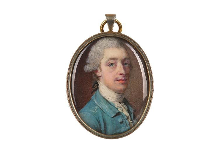 SAMUEL COTES (BRITISH 1734-1818) Portrait miniature of a Gentleman, wearing a green coat and white lace jabot, his hair powdered and worn en queue Dated 1771 Watercolour on ivory Silver gilt frame Oval, 37mm high Subject to CITES
