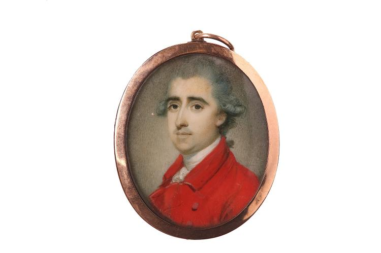 RICHARD CROSSE (BRITISH 1742-1810) Portrait miniature of a Gentleman, wearing a red coat, circa 1770 Watercolour on ivory Gold frame Oval, 35mm high Subject to CITES