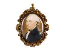 EDWARD MILES (BRITISH 1752-1828)  Portrait of a Gentleman, wearing a black coat, white chemise, stock and cravat, his powdered wig worn en queue   Watercolour on ivory  Victorian gilt-metal bracelet clasp mount with border of scroll leaf decoration to the Oval, 38mm, high   Subject to CITES