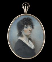 Attributed to ALEXANDER GALLAWAY (BRITISH fl.c.1794-1812)   A portrait miniature of a lady called Mary Brisbane, wearing black dress with white fichu, her dark hair worn long and curled   Watercolour on ivory   Original gold frame, the reverse with curls of dark brown hair and gold wire, blue glass lozenge with seed pearl initials 'MB', the whole laid onto opalescent glass    Oval, 70mm high   Subject to CITES  Provenance: Daphne Foskett Collection (no.150)  Footnote: The sitter is possibly Miss Mary Brisbane (1772-1855), daughter of Thomas Brisbane (1720?–1812) and his wife, Eleanor and sister to Sir Thomas Makdougall Brisbane, Bt. (1773-1860), Governor of New South Wales, Australia.   Mary Brisbane is recorded as dying, unmarried, at 6 Sydney Place, Bathwick (then in Somerset) on 31 March 1855. She was buried at St. Mary, Bathwick, on 7 April 'aged 83' (parish register).This portrait miniature, probably painted by the Scottish artist Alexander Gallaway, would have been commissioned in her native Scotland. Very little is known about Gallaway, his sitters ranging from the emerging middle classes to well-known personalities. This portrait incorporates many characteristics found in his work, including the build-up of form using a soft stippling technique.   A portrait miniature of Mary Brisbane's eminent brother was painted by Simon Jacques Rochard (1788-1872) and was sold Sotheby's, 1st June 1970, lot 70.