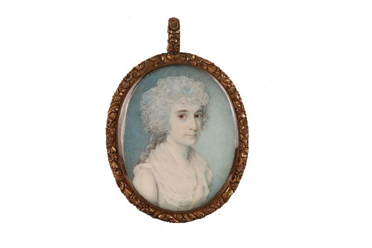THOMAS ARROWSMITH (BRITISH fl.1792-1829) Portrait miniature of a Lady, wearing white dress with fichu, her hair powdered and curled Watercolour on ivory In chased gilt metal foliate frame, the reverse glazed to reveal plaited hair Oval, 47mm high Subject to CITES
