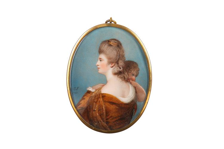 JOSEPH SAUNDERS (BRITISH fl.1772-1811)  Portrait miniature of a Lady in classical dress holding a child  signed with initials and dated, 'J.S./1783'  Watercolour on ivory  Gilt metal frame the reverse glazed to reveal black silk grosgrain  Oval, 89mm high   Subject to CITES