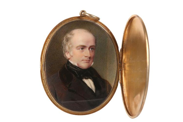 AFTER GEORGE RICHMOND R.A. (BRITISH 1809-1896) Portrait miniature of Henry, Lord Langdale (1783-1851), circa 1840, wearing black coat with black velvet collar and black waistcoat, black tied stock Watercolour on ivory Gilt metal case, engraved with sitter's details on the inside Oval, 59mm high Subject to CITES