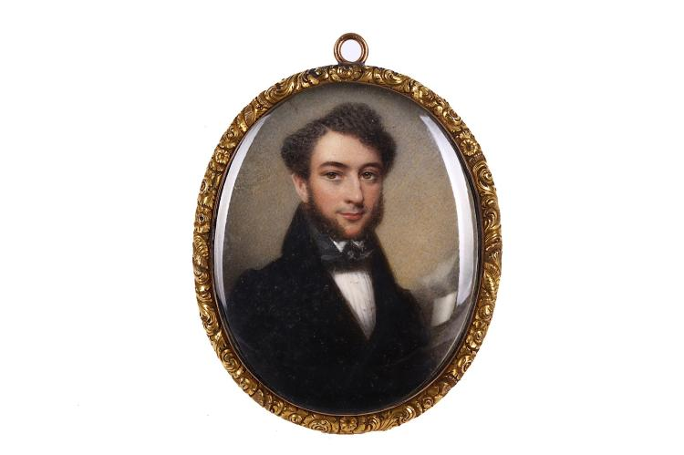THOMAS HARGREAVES (BRITISH 1774-1846/7) A Gentleman, Captain John Fenwick, in dark brown coat with black collar, white shirt with studs and black cravat Watercolour on ivory Gilt frame with engraved, foliate border Oval, 64mm high Subject to CITES