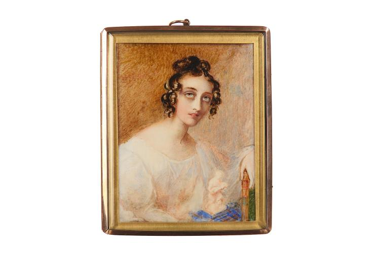MRS MEE (BRITISH c.1770/5-1851) Portrait of a young Lady, Georgina North, wearing a white dress, her hair dressed in ringlets and upswept in a bun, seated by a small porcelain figurine Watercolour on ivory Gilt metal mount set into a rectangular gold frame, the reverse glazed to reveal inscription on card, 'For my dear Papa / Georgina North / ... 11th of Sept 1800' and locks of hair Rectangular, 12.5 x 9.7 cm Subject to CITES
