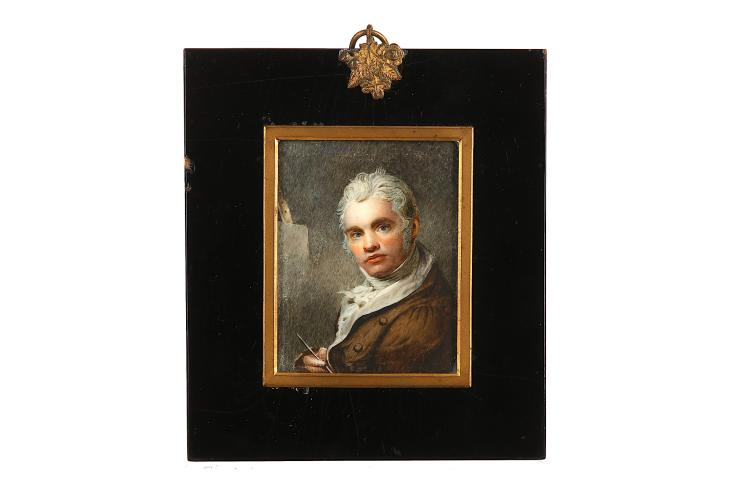 ENGLISH SCHOOL (c.1805) Portrait miniature, self-portrait of an artist, in brown coat, white waistcoat, frilled chemise and tied cravat Watercolour on ivory Rectangular gilt mounted black lacquer frame Rectangular, 82mm high