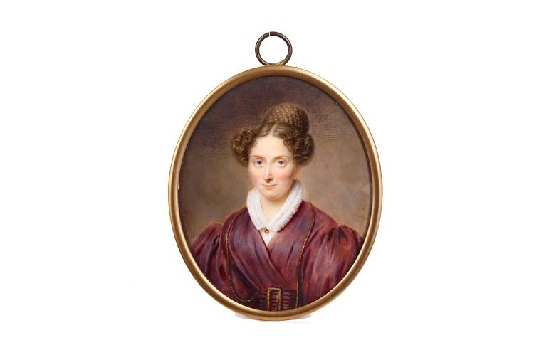 HYACINTHE LEMAIRE-DEQUERSONNIER (FRENCH b.1795) Portrait miniature of a lady, in mauve dress, matching belt with gold buckle, lorgnette chain, white blouse with ruff collar held with a gold brooch, her brown hair curled and in elaborate plaited top-knot Signed 'Lemaire Deq' (left hand edge) Watercolour on ivory Oval, 86mm high Footnote: Hyacinthe Lemaire-Dequersonnier was born in Dunkirk in 1795. He was a pupil of Aubry in Paris where he established himself as a miniaturist. Subject to CITES