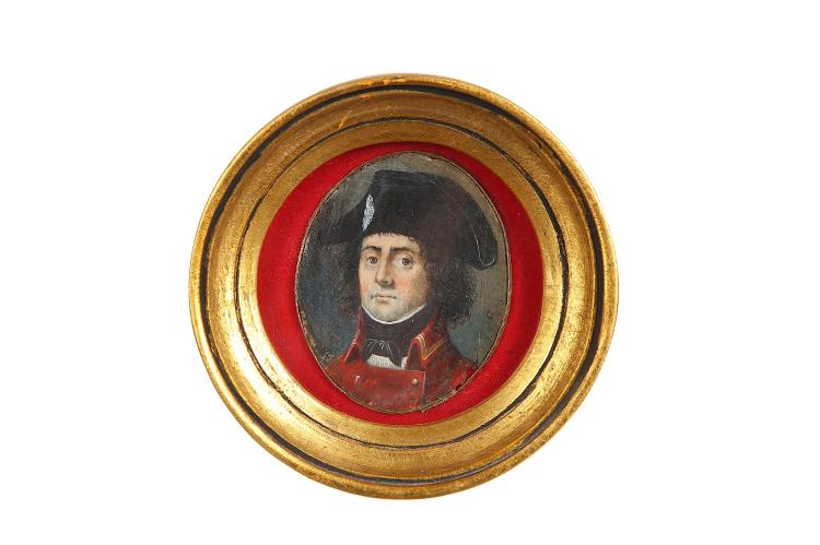 FRENCH SCHOOL (18TH CENTURY) Portrait miniature of a naval officer in scarlet coat and black naval hat Signed with initial 'G' Watercolour on ivory Set within circular gilt wood frame Oval, 57mm high Subject to CITES