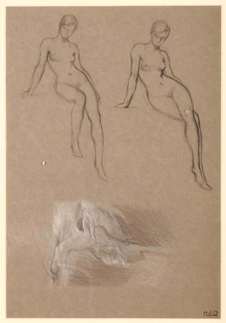 HERBERT JAMES DRAPER (BRITISH 1864-1920) Studies for The Kelpie 1913 (Lady Lever Art Gallery, Liverpool) and Clyties of the Mist 1912 Signed with initials Charcoal and white chalk on buff paper 48.5 x 33.4cm (19 x 13in) Framed Provenance: with Julian Hartnoll