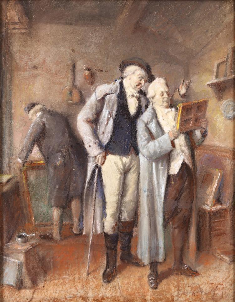 JEAN BAPTISTE MADOU (BELGIAN 1796-1877) Chez le Marchand des Tableux Monogrammed Pastel Giltwood frame, glazed with nameplate 24 x 19cm (9.5 x 7.5in) Provenance: St James's, London