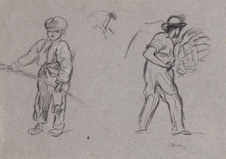 ATTRIBUTED TO JOHN LINNELL (ENGLISH 1792-1882) Haymaking, c.1840 Inscribed over right'Standing' Charcoal heightened with white on buff paper 19 x 27.2cm (7.5 x 11in) Unframed Provenance: ex. collection Michael Ingram