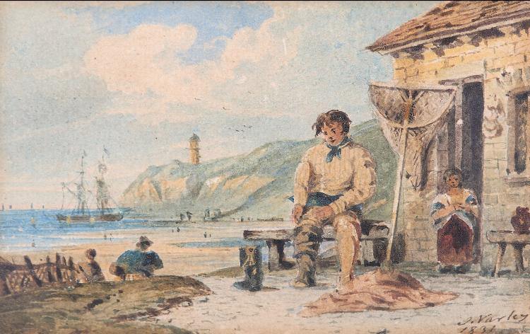 JOHN VARLEY O.W.S. (BRITISH 1773-1842) A fisherman resting before a stone cottage by the sea Signed and dated 1831 Watercolour 8.5 x 13.5 cm (3 3/8 x 5 3/8 in)