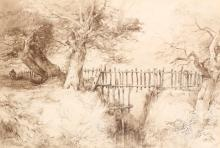 JOHN MIDDLETON (BRITISH 1827-1856)   At Gunton Park   Monogrammed lower left   Sepia wash with pencil   33 x 47.5cm (13 x 18.75in)   Framed with title mount   Provenance: with Mandells Gallery, Norwich
