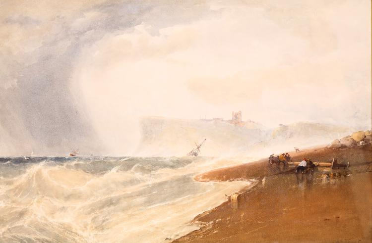 WILLIAM ROXBY BEVERLEY (ENGLISH 1811-1889) Scarborough Castle from the North Sands Signed and dated lower right 1862, labels verso Watercolour with body-colour 50cm x 75cm (19.75 x 29.5in) Mounted and framed