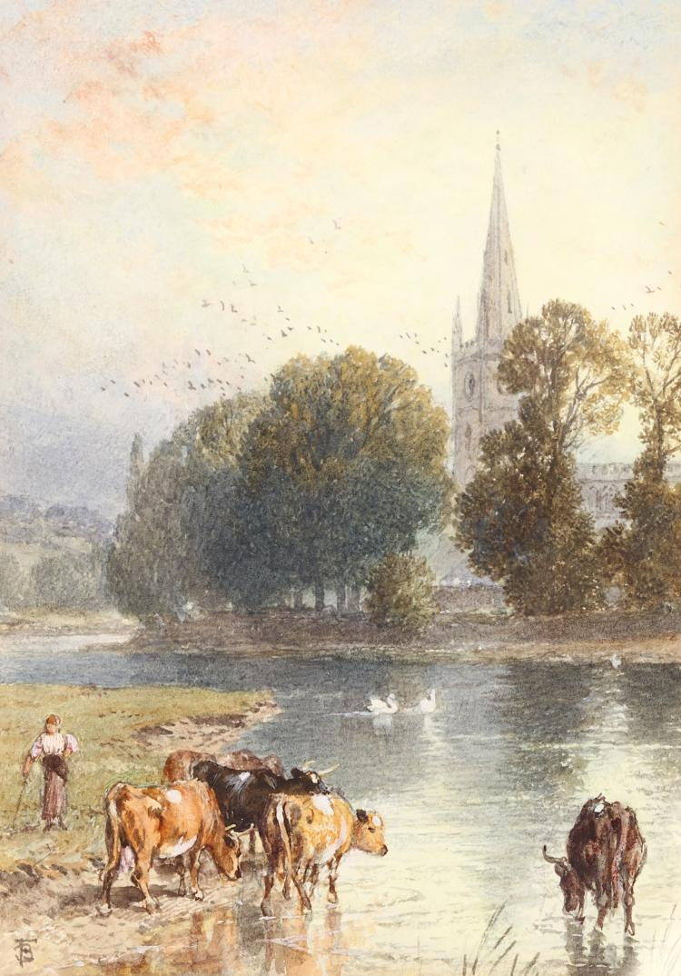 MYLES BIRKETT FOSTER R.W.S. (BRITISH 1825-1899) Cattle Watering at River with Church Beyond Signed with monogrammed lower left Watercolour and body colour 14 x 10cm (5.5 x 4in) Framed Provenance: Exhibited Leger Gallery Ltd, Bond St, London 1969. With Heather Newman Gallery