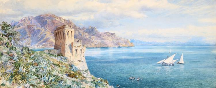FREDERICK TOWNSEND (ENGLISH fl.1861-1866) Old Watch Tower, Overlooking the Bay of Salerno Watercolour and bodycolour 31 x 76.2cm (12.25 x 30in) Original gilt-moulded gesso frame Exhibited Royal Academy, 1861, No.725. Provenance: The Maas Gallery Ltd., London
