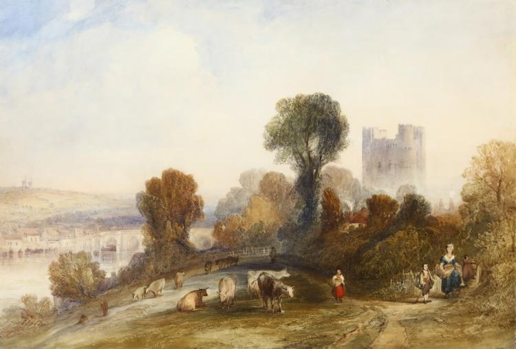 CHARLES MARSHALL (BRITISH 1806-1890) Rochester Castle Signed with initials lower left Watercolour heightened with bodycolour and stopping out 31.2 x 46.4 cm (12 x 18in) Original gilt moulded frame Engraved: By William Henshall (fl.1830-1843) as a steel line engraving for 'Select Illustrated Topography of Thirty Miles round London', 1837-38 Exhibited: London, Royal Academy, 1837, no. 907