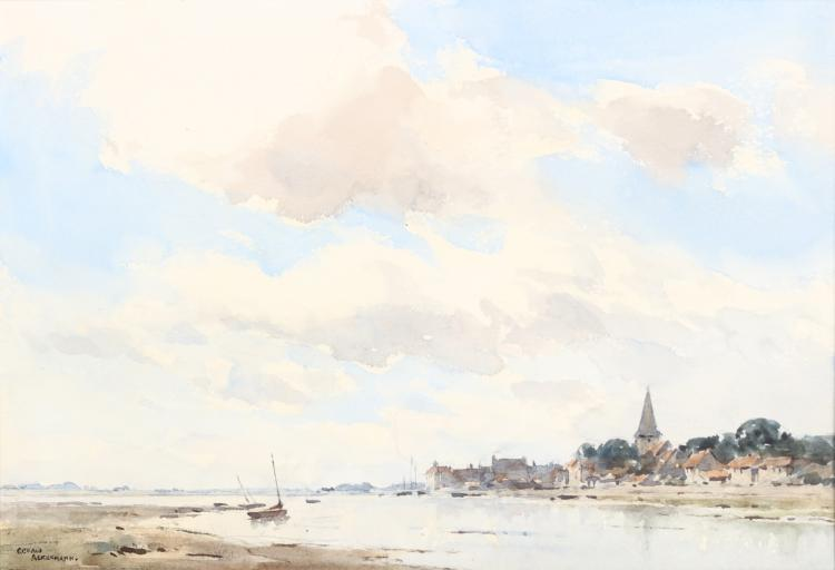 ARTHUR GERALD ACKERMAN R.I. (BRITISH 1876-1960) Bosham, Sussex Signed lower left and inscribed on backboard label Watercolour 24.5 x 36cm (9.5 x 14in) Framed and glazed Provenance: with The Fine Art Society 1947, and Heather Newman Gallery