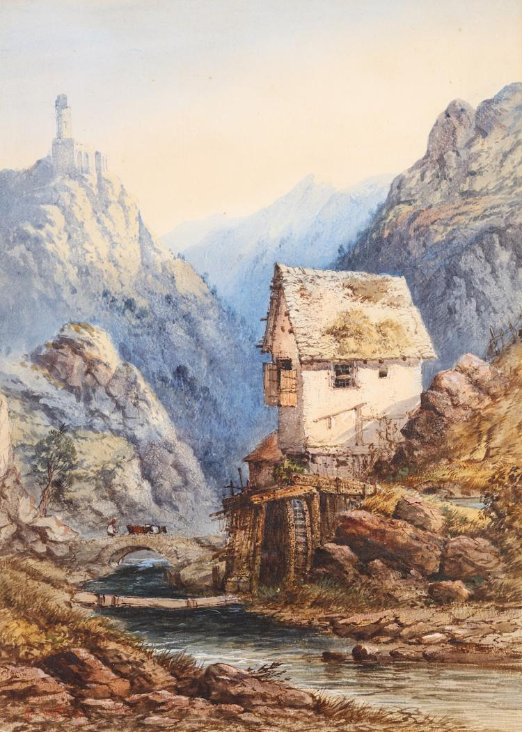 GABRIEL CARELLI (ITALIAN 1820-1900) A watermill near the Amalfi Coast Signed and dated 1881 Watercolour 65 x 46.5 cm (25.5 x 18.25in)