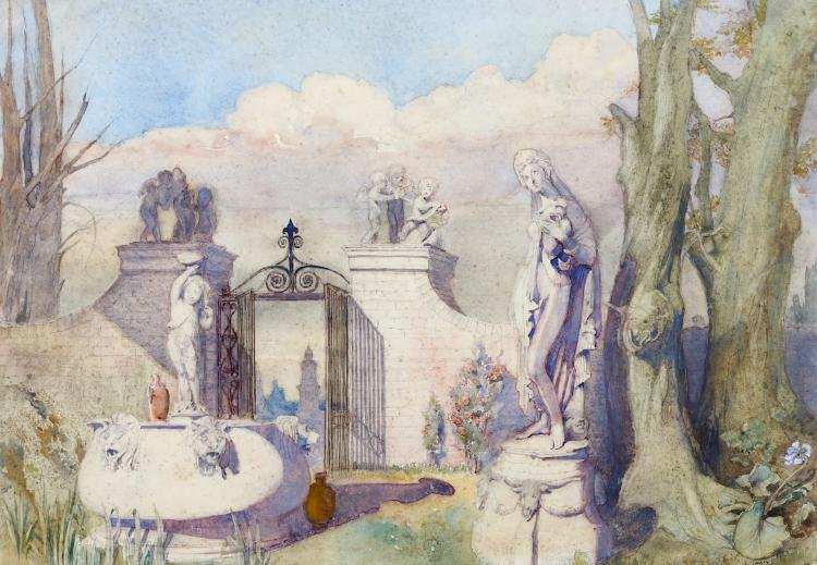 ALFRED CHARLES CONRADE (BRITISH 1863-1955) The Garden of Statues Signed  Watercolour over pencil 37 x 53.5 cm  Framed and glazed