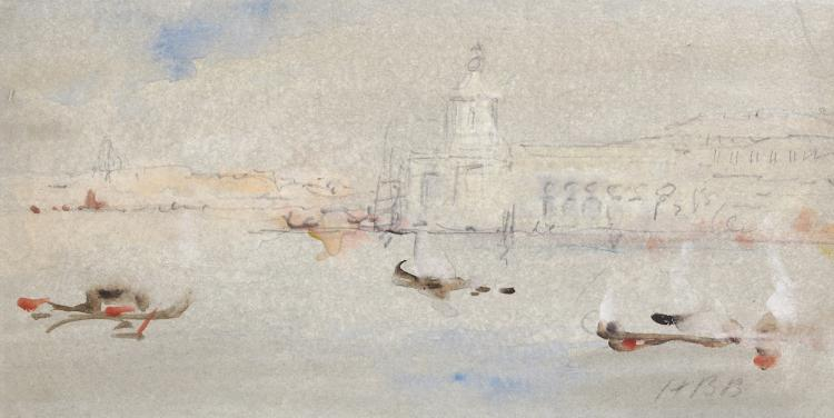HERCULES BRABAZON BRABAZON N.E.A.C. (BRITISH 1821-1906) The Dogana, Venice Signed with initials Watercolour, bodycolour, and pencil on tinted paper 11.5 x 23cm (4.5 x 9in) Exhibited: Art & Sunshine - Hercules Brabazon Brabazon 1997 Provenance Chris Beetles Gallery