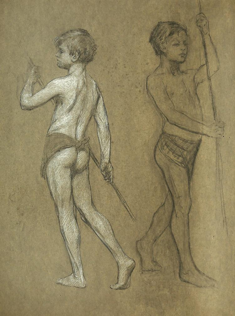 ESTELLA LOUISA MICHAELA CANZIANI (ENGLISH 1887-1964) ARR Study of Two Young Boys holding Staffs Charcoal and white chalk on grey paper 73.5 x 56.3cm (29 x 22in) Unframed