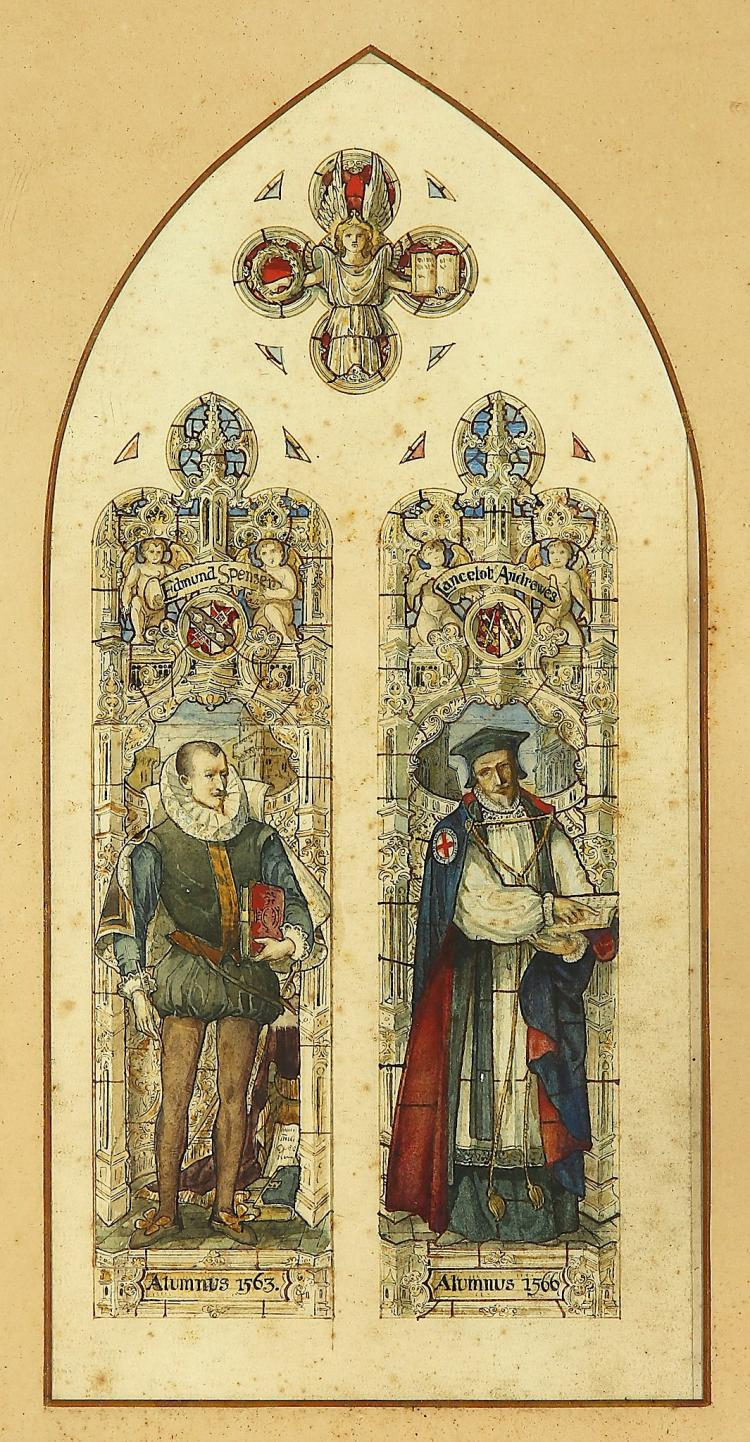 ENGLISH SCHOOL (19TH CENTURY) Edmund Spencer (1552-1599) and Launcelot Andrews (1555-1626) Stained Glass window designs Pen and ink and watercolour 36 x 17cm (14.25 x 6.75in) Arched mount and framed Provenance: Lavels and Westlake, Endell St., London Footnote: Edmund Spenser born 1553, died 1599. Educated Merchant Taylor's School under Dr. Mulcaster. Was Chief Secretary to the Lord Lieut. of Ireland. Launcelot Andrews born 1555, died 1626. Was Bishop of Chichester, Ely, and Winchester. Bears The Order of the Garter on the right side of his robes.
