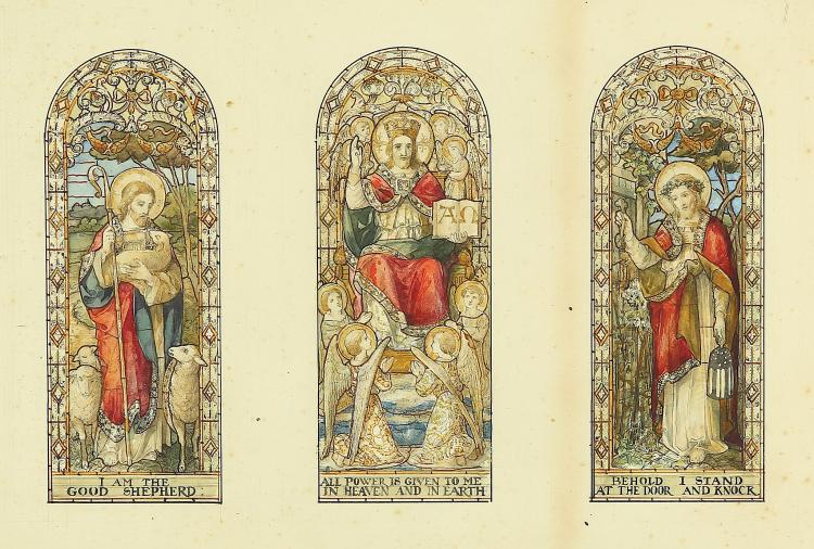 ENGLISH SCHOOL (19TH CENTURY) Stain Glass window design depicting 3 Parables from the Life of Christ Pen and ink and watercolour 25 x 35cm (9.75 x 13.75in) Provenance: Lavers and Westlake, Endell St., London