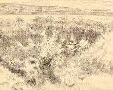 LUCIEN PISSARRO (FRENCH 1864-1944)  Paysage  Conte and graphite landscape drawing  9cm x 12cm (3.5 x 5in)  Mounted and framed   Provenance: Cadogan Gallery, Pont Street