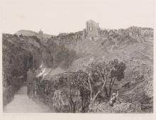 """AFTER JOSEPH MALLORD WILLIAM TURNER R.A. (ENGLISH 1775-1851)  Knaresborough, Yorkshire  Inscribed below, 'Drawn by J.M.W. Turner R.A., Etched by T. Jeavons, 1828'  Working proof etching on Japanese paper stuck down on wove paper  Image size 16.8 x 23cm (6.5 x 9ins)  Published: Picturesque Views in England and Wales, 1827-38   FOOTNOTE:PicturesqueViews in England and Waleswas the most ambitious of theengravingprojects with which Turner became associated in the 1820s and 1830s. The project was the idea of the engraver Charles Heath, who had first worked with Turner in 1811.The engravings and plates forEngland and Waleswere still in Turner's London house in Queen Anne Street when he died, and were disposed of as the Fifth Portion of the massive Chancery sales of 'The Valuable Engravings of the Works of the Late J.M.W. Turner, R.A.' held at Christie's in 1873 and 1874. The prints fromEngland and Waleswere sold on 27 May 1874 and 23–4 July 1874 ), but the plates themselves were destroyed just before the sale. There were 222 lots of prints from this series alone, totalling over 52,000 engravings and including more than five hundred bound volumes; since the entire total of prints sold in the Turner sales was 76,000 (in over 1,850 lots), it is clear that the prints fromEngland and Walesmust have accounted for a considerable proportion of the £40,000 raised by the sales  AlthoughPicturesque Views in England and Waleswas not a commercial success, today the series is regarded as one of the finest and as one of the most important made from Turner's work. Andrew Wilton has described the subjects 'as modern """"history pictures"""" in which the common man is the hero', and certainly it is the relationship of man to thelandscapewhich is the series' constant theme. Unlike previous engraved series, Turner himself selected the subjects, which fall into a wide range of categories covering almost every aspect of his work as a landscape painter - coastal subjects, urban and industrial views, """