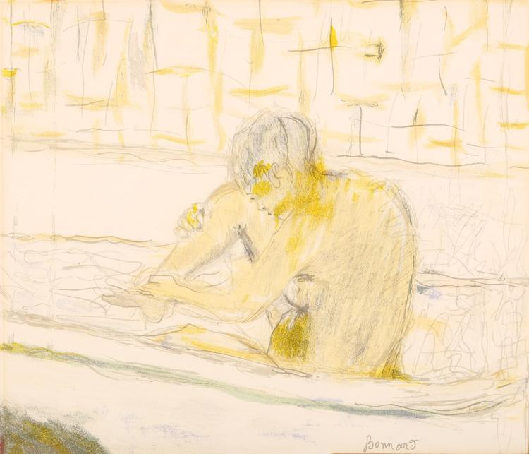 PIERRE BONNARD (FRENCH 1867-1947) Femme assise dans sa baignoire - Woman seated in her bath 1942 Lithograph in nine colours  From the editions of 1,000 impressions issued by Arte Nice to accompany the de-luxe programme for Maurice Chevalier's Cannes Charity Concert 1942 With label for The Redfern Gallery 25 x 29cm (9.8 x 11.5ins) Mounted and framed Provenance: the collection of H.E. Bates (1905-1974), author of 'The Darling Buds of May'.