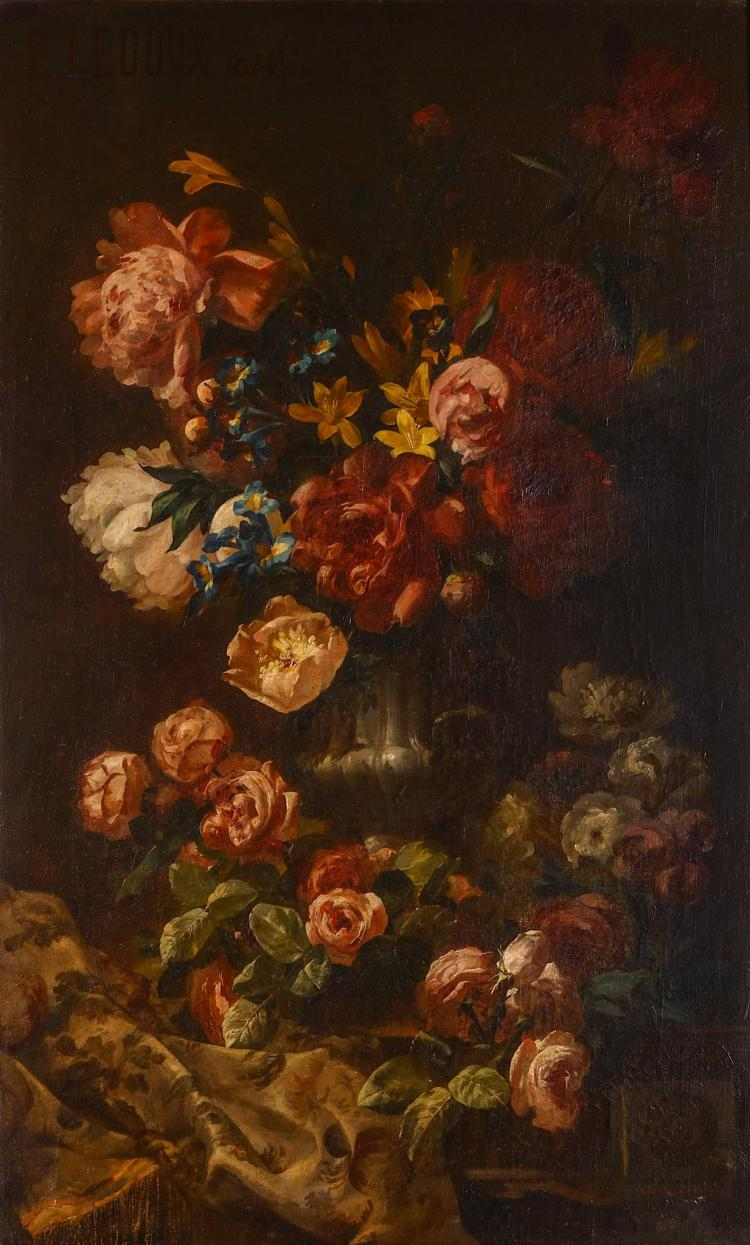 EUGENE LEDOUX FRENCH (19TH CENTURY) Still Life Summer Blooms in a Classical Urn Signed upper left, dated 1874 Oil on canvas 96 x 60cm (38 x 24in) Giltwood frame with nameplate