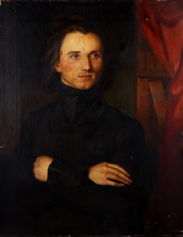 AMERICAN SCHOOL (19TH CENTURY) Portrait of a gentleman Oil on canvas 88.5cm x 69cm (35 x 27in) Unframed Footnote: It has been suggested that the sitter may be the Hungarian born composer Franz Liszt (1811-1886). The painting is on an Edward Dechaux, New York canvas; Edward Dechaux would regularly source artist materials and finished works in his native Paris for export to his gallery in New York.