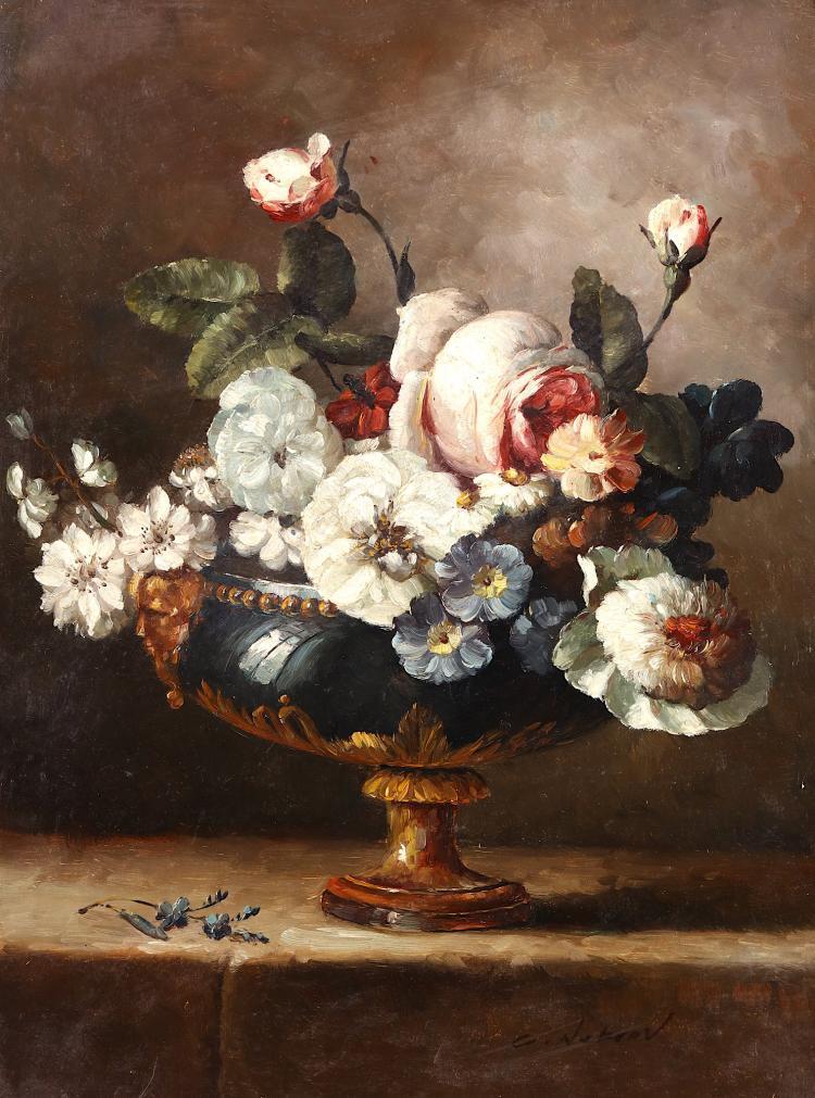 C. NEKROV (?) / RUSSIAN SCHOOL (19TH CENTURY) Summer Blooms in a Gilded Urn Signed lower right Oil on canvas 40 x 30cm (15.75 x 11.75in) Unframed, on original canvas