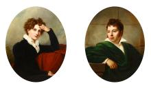 ATTRIBUTED TO RICHARD RAMSEY REINAGLE (BRITISH 1775 - 1862)  A pair of portraits of a distinguished lady and gentleman  Oil on canvas, oval  82 x 65cm (32.25 x 24.5in)  Molded gilt frame (2)