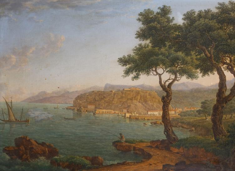 JOHANN JACOB MULLER (LATVIAN 1765-1832) A coastal landscape with an angler on the shore, fishing boats and other vessels on the water, and the harbour of Tropea (Calabria) beyond Signed with monogram MR Oil on canvas laid to panel 46cm x 63cm (18.5 x 25in) Provenance: Private collection, Germany