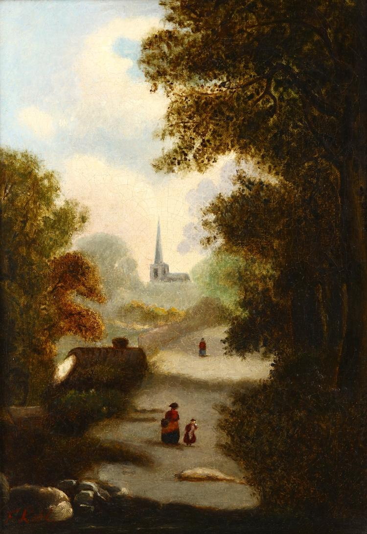 DUTCH SCHOOL (19TH CENTURY)  Wooded landscape with figures Indistinctly signed lower left Oil on canvas 34 x 24cm (13.25 x 9.5in)